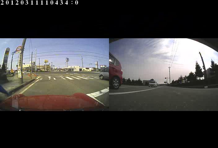 ミニクーパーの2カメドライブレコーダー撮影範囲
